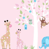 Pink Giraffes and Tree Extra Branch Wall Decals