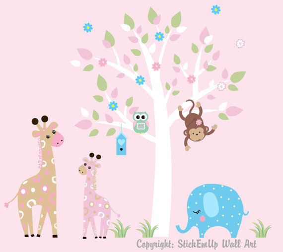 Pink Giraffes and Tree Extra Branch Wall Decals - Wall Sticker Outlet