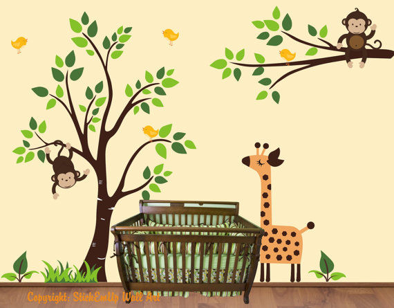 Sleepy Giraffe and Tree Extra Branch Wall Decals - Wall Sticker Outlet