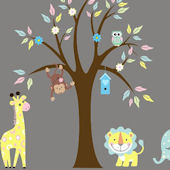Pastel Animals and Tree Wall Decals