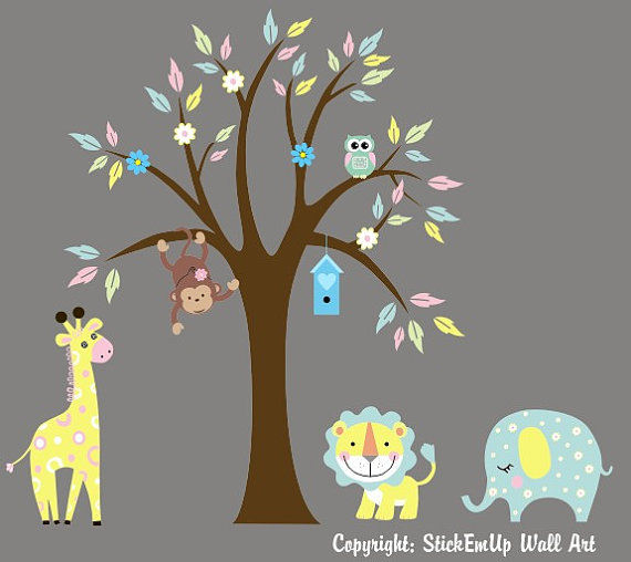 Pastel Animals and Tree Wall Decals - Wall Sticker Outlet