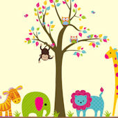 Bright Animals and Tree Wall Decals