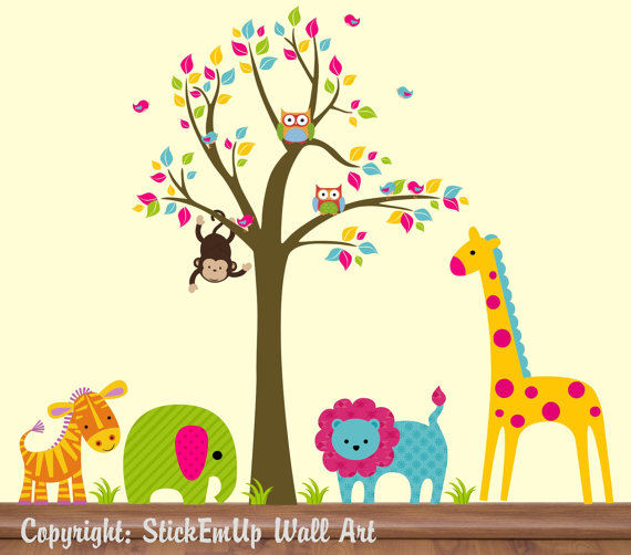 Bright Animals and Tree Wall Decals - Wall Sticker Outlet