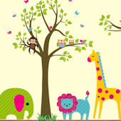 Bright Animals and Tree Extra Branch Wall Decals