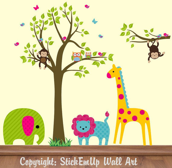 Bright Animals and Tree Extra Branch Wall Decals - Wall Sticker Outlet