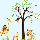 Monkey Riding Giraffe and Tree Wall Decals