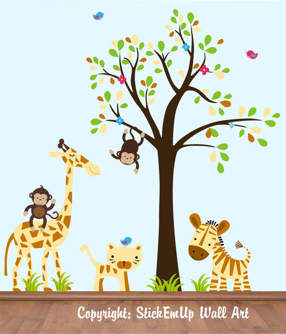 Dangling Monkey With Tree Wall Decals - Wall Sticker Outlet