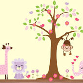 Pink Heart Elephant and Tree Wall Decals