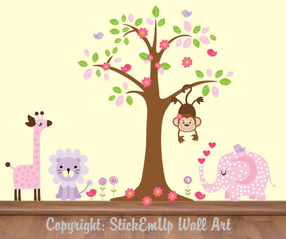 Pink Polka Dot Elephant With Tree Wall Decals - Wall Sticker Outlet