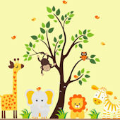 Orange Nursery Zoo With Tree Wall Decals
