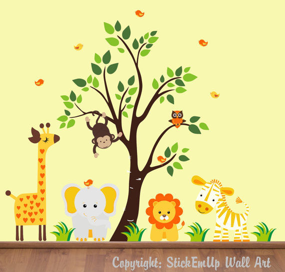 Heart Giraffe and Tree Wall Decals - Wall Sticker Outlet