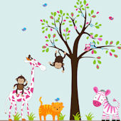 Pink Zebra Giraffe and Tree Wall Decals