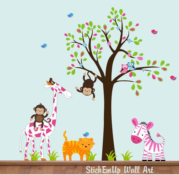 Sweet Pink Nursery Zoo With Tree Wall Decals - Wall Sticker Outlet
