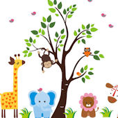 Sweet Elephant and Tree Wall Decals