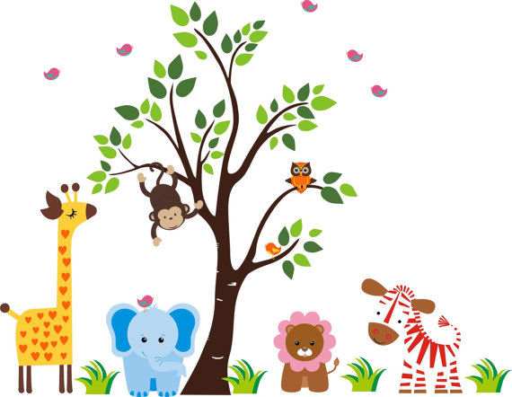 Darling Nursery Zoo With Tree Wall Decals - Wall Sticker Outlet