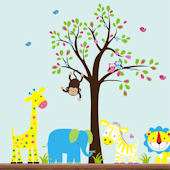 Smiley Blue Elephant With Tree Wall Decals