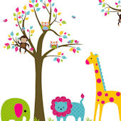 Bright Zoo and Tree Extra Branch Wall Decals