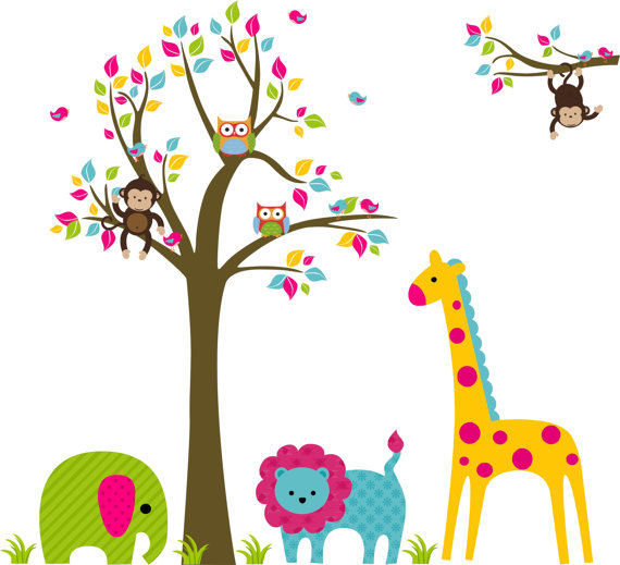 Bright Zoo and Tree Extra Branch Wall Decals - Wall Sticker Outlet