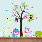 Boy Girl Twin Jungle Animals With Tree Wall Decals