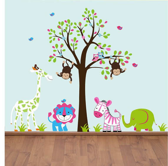 Twin Swinging Monkeys in a Tree Wall Decals - Wall Sticker Outlet