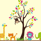 Neutral Jungle Animals With Tree Wall Decals