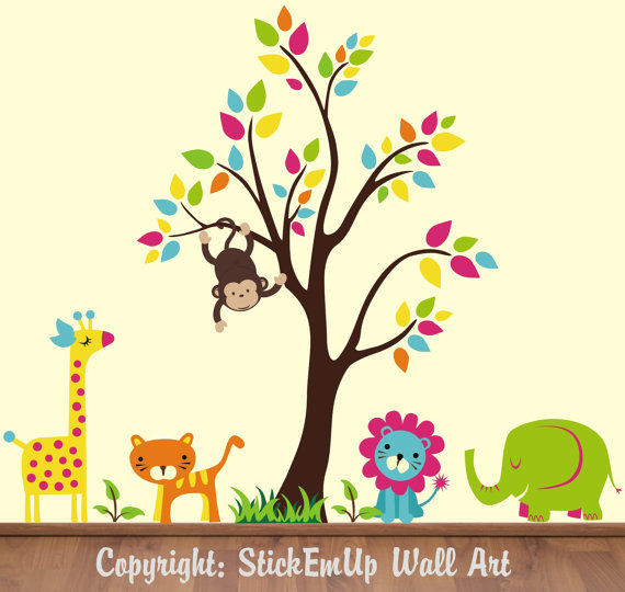 Neutral Jungle Animals With Tree Wall Decals - Wall Sticker Outlet