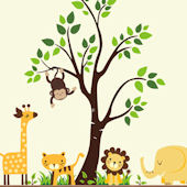 Buttercup Jungle Animals With Tree Wall Decals