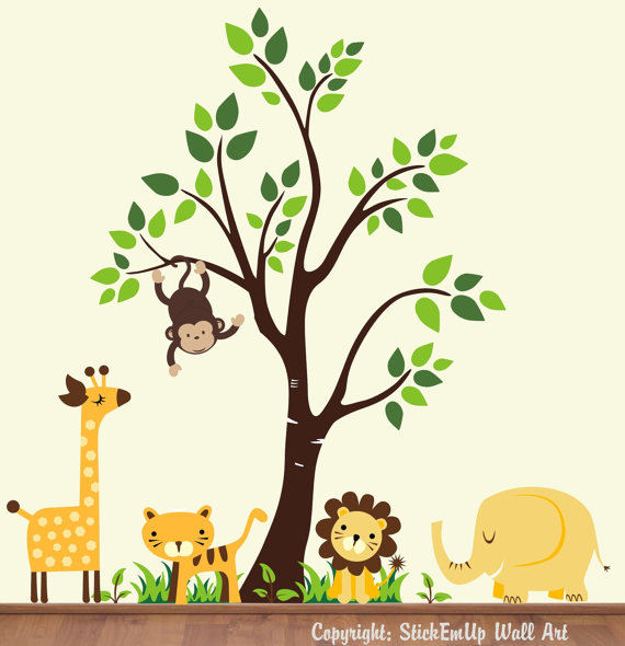 Buttercup Jungle Animals With Tree Wall Decals - Wall Sticker Outlet