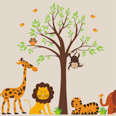 Tangerine Jungle Animals With Tree Wall Decals