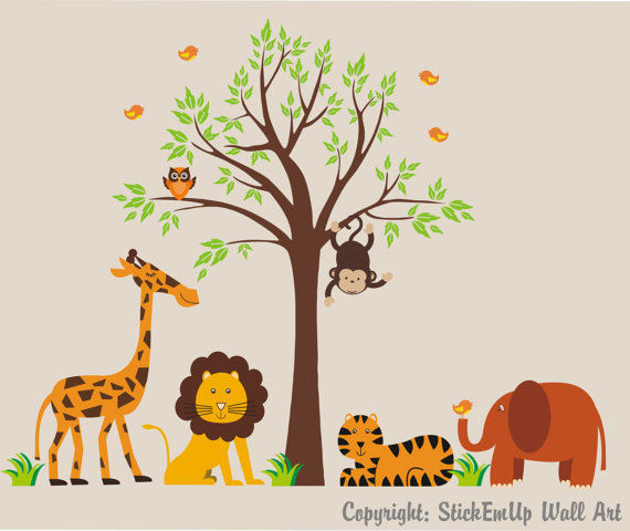 Tangerine Jungle Animals With Tree Wall Decals - Wall Sticker Outlet