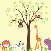 Purple Zoo Animals and Tree Wall Decals