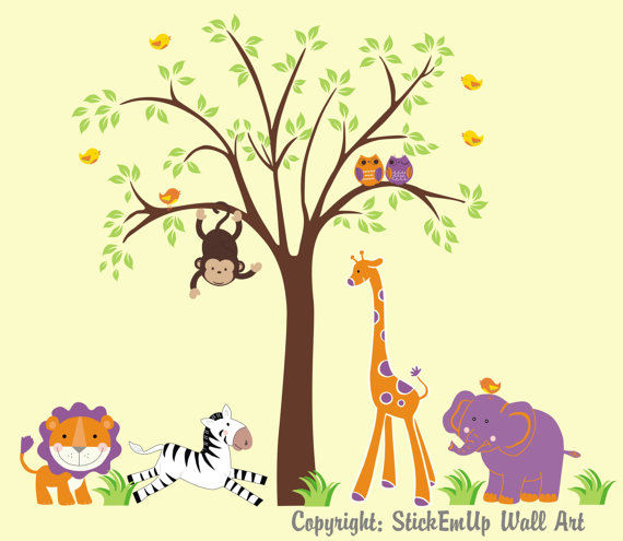 Purple Zoo Animals and Tree Wall Decals - Wall Sticker Outlet