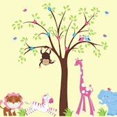 Happy Pink Zoo Animals and Tree Wall Decals