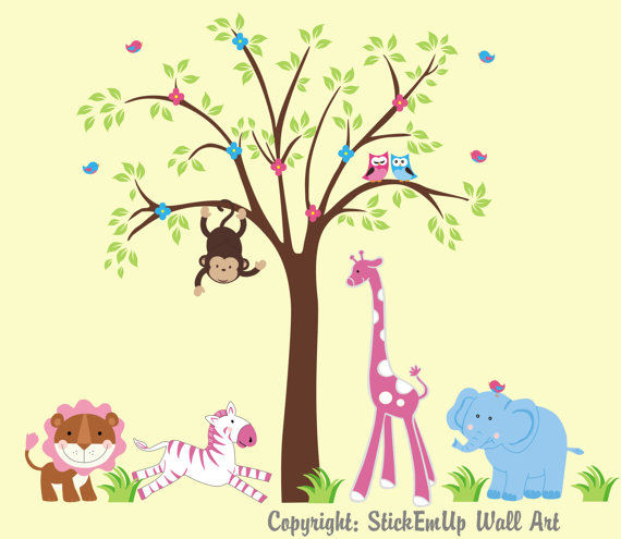 Leaping Pink Zebra With Tree Wall Decals - Wall Sticker Outlet