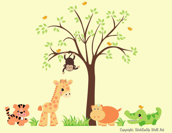 Sweet Baby Zoo Animals and Tree Wall Decals - Wall Sticker Outlet