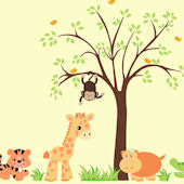 Sweet Baby Zoo Animals and Tree Wall Decals