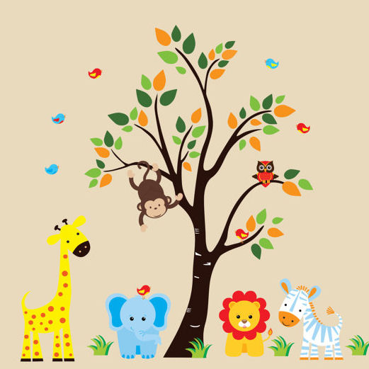 Personalized nursery animals with tree wall decals for Baby jungle mural