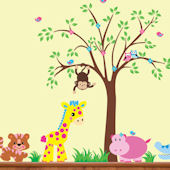 Pink Baby Hippo With Tree Wall Decals