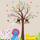 Twin Swinging Monkeys Pink in a Tree Wall Decals