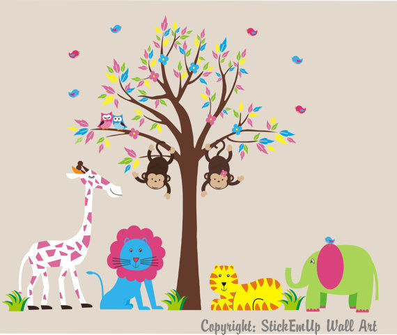 Twin Swinging Monkeys Pink in a Tree Wall Decals - Wall Sticker Outlet