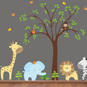 Happy Zoo Animals and Tree Wall Mural Stickers