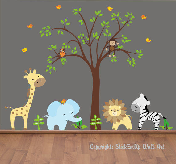 Happy Zoo Animals and Tree Wall Mural Stickers - Wall Sticker Outlet