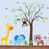 Funky Lion and Tree Wall Mural Stickers