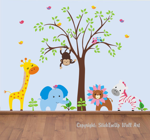 Funky Lion and Tree Wall Mural Stickers - Wall Sticker Outlet