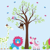 Green Spotted Giraffe and Tree Wall Mural Stickers
