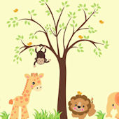 Happy Baby Zoo Animal and Tree Wall Mural Stickers