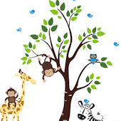 Zachs Zoo Animals and Tree Wall Mural Stickers
