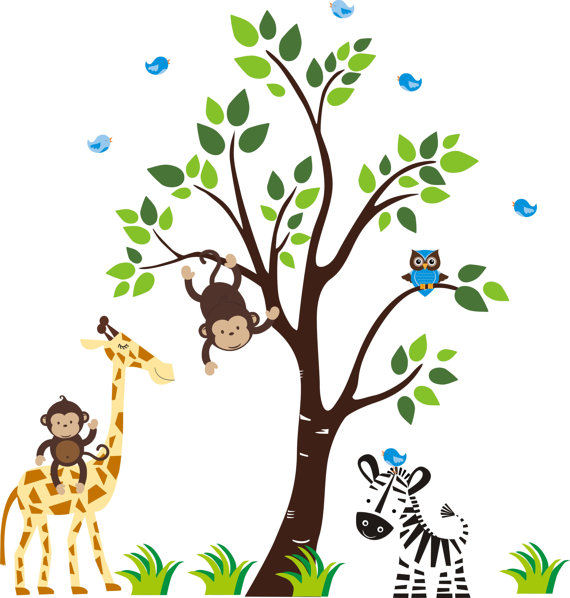 Zachs Zoo Animals and Tree Wall Mural Stickers - Wall Sticker Outlet
