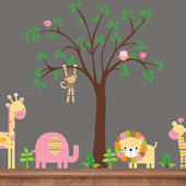 Pink Striped Animals and Tree Wall Mural Stickers