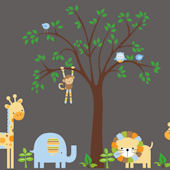 Blue Striped Animals and Tree Wall Mural Stickers